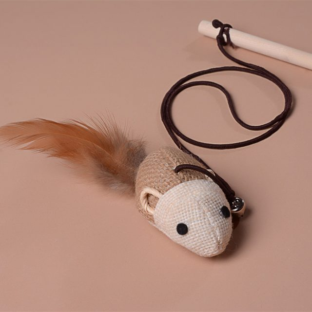 Mouse Teaser Feather Toy for Cats