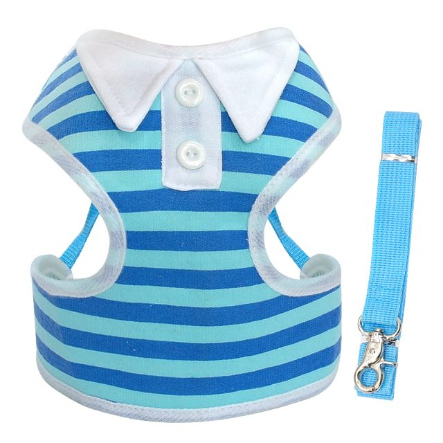 Breathable Striped Vest Dog Harness and Leash Set