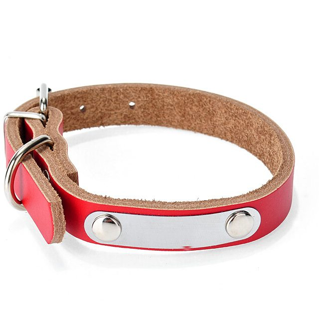 Dog's and Cat's Leather Collar with Personalized Tag