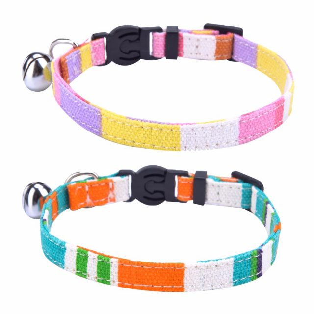 Adjustable Rainbow Canvas Cat Collar with Bell