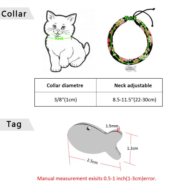 Handmade Cat Collar with Personalized ID Tag