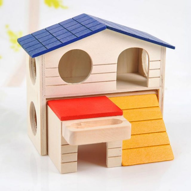 parry dog Hamster Wooden Two-Layer Village Guinea pigs small pet House