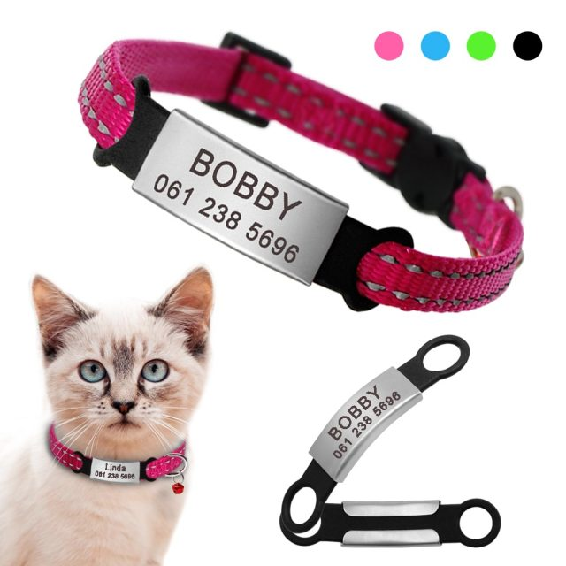 Nylon t Collar Personalized Pet Collars With Name ID Tag