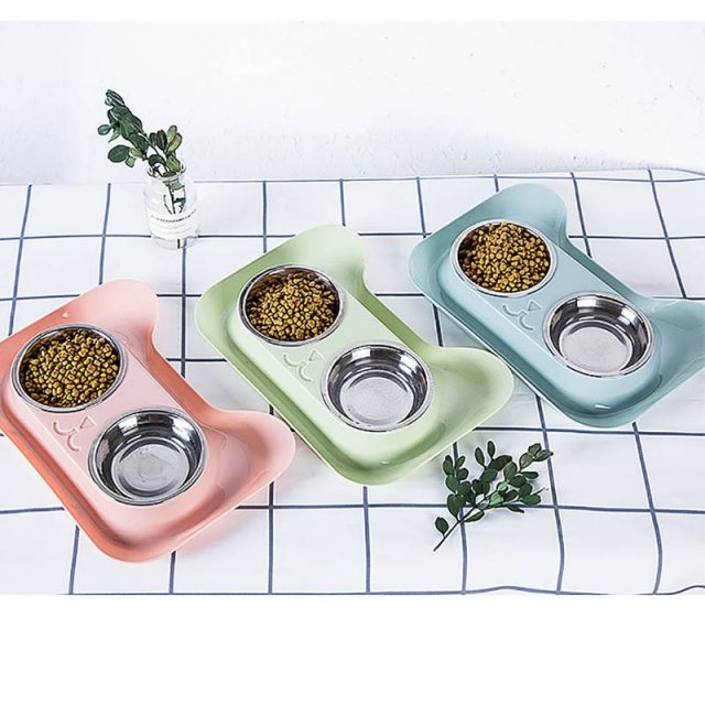 Double  Food Bowl Stainless Steel