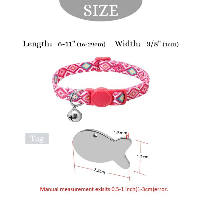 Quick Release Kitten Cat Collar Personalized Pet Puppy Cat Collars With Bell Cat Tag Collar Safety Adjustable For Small Dog Cats