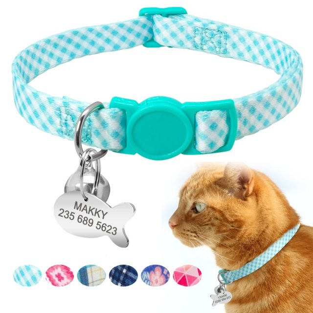 Custom Safety Cat Collar Personalized Cat Collars with Bell Name Tag Nylon Print