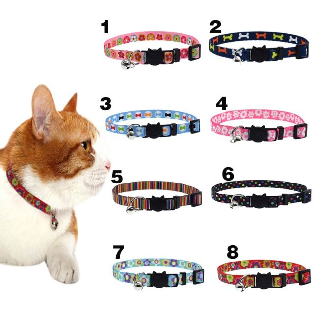Cat Collar With Bell Safety Buckle