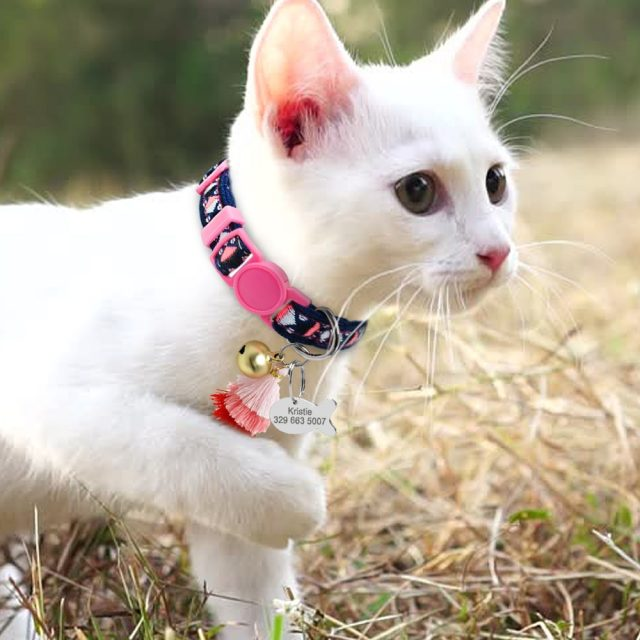 Personalized Cat Collar With Bell Customized Kitten Collars Necklace Bohemian Style Free Engraving Fish ID Tag Nameplate