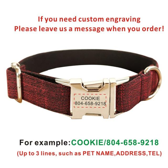 Personalized Dog Collars Pet Leashes Set Suit Color Custom Nameplate ID Tag Nylon Adjustable Collar Free Eangrving XS,S,M,L,XL