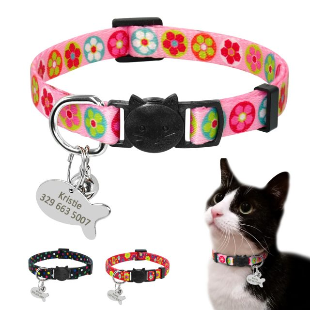 Quick Release Cat Collar ID Tag Set Dog Cat Collars Flower Printed Personalized Collars For Cat Small Dog Puppy