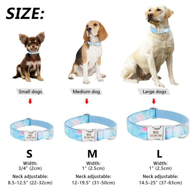 Personalized Dog Collar Customized Pet Puppy Nameplate Dog Tag Collar Nylon Engraved Cat Pet Collars For Small Medium Large Dogs