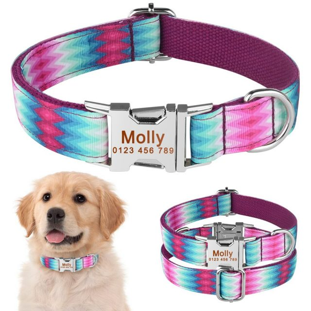 AiruiDog Personalized Dog Collar Floral Custom Engraved Name