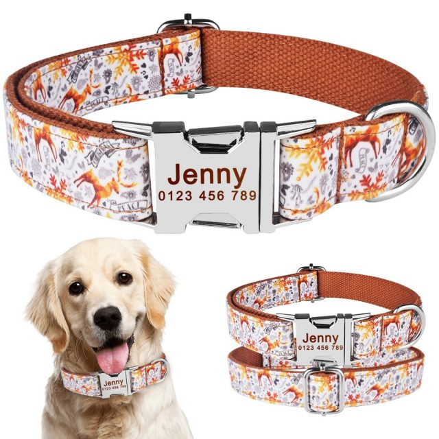 Free Engraved Name Personalized Dog Collar Nylon Small Medium Large Dogs Puppy