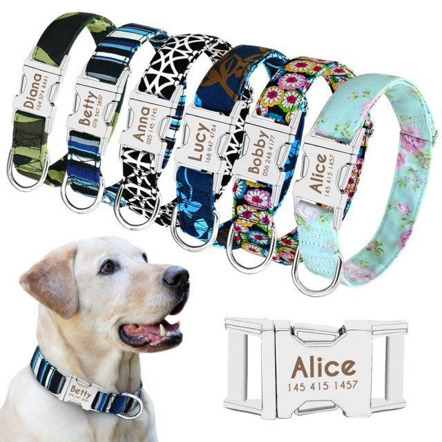 Cat Collar Personalized Nylon Custom Cats ID Tag Collar Engraved Nameplate