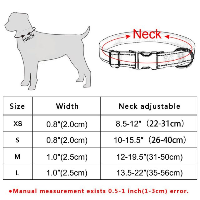 Small Large Pet Personalized Dog Collar Puppy Tag Name Free Engraved