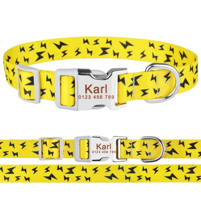 Dog Adjustable Personalized Dog Collar Puppy Dogs Name ID Tag Custom Engraved S-L