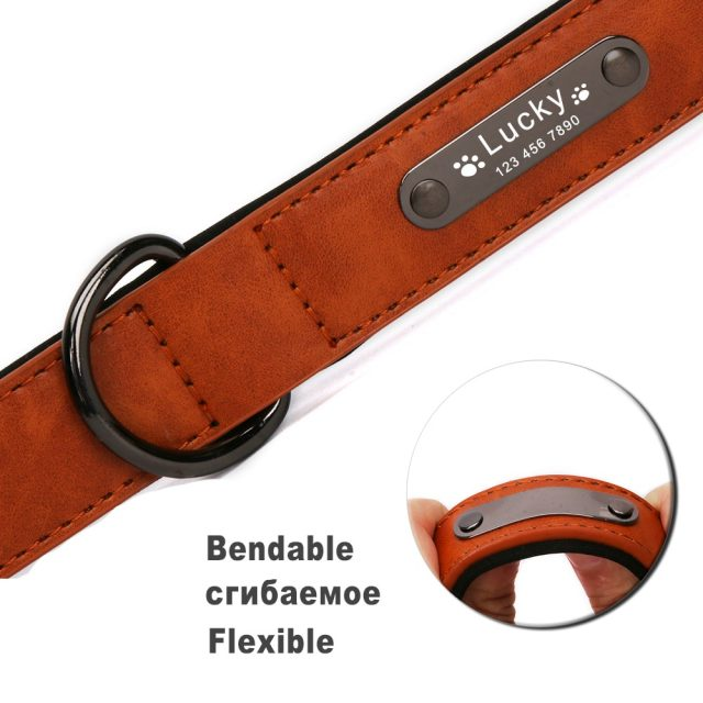 Big Personalized Leather Dog Collar for Dogs Luxury Large Small Dog Collars