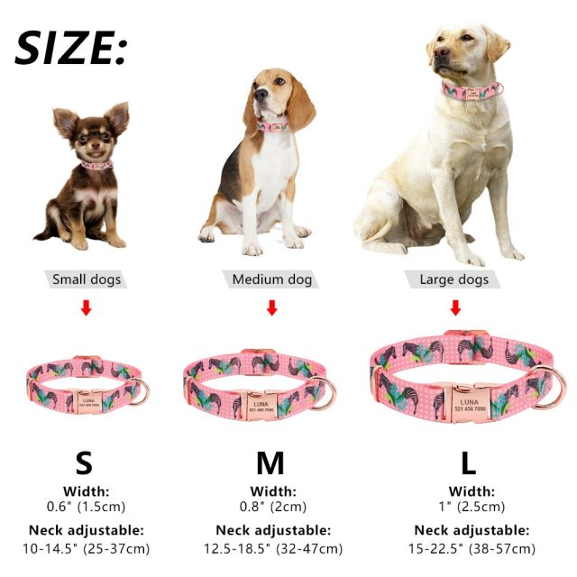 Dog Collar Personalized Custom Nylon Pet Dog Tag Collar Engraved Puppy Cat ID Tag Nameplate Collars For Small Medium Large Dogs