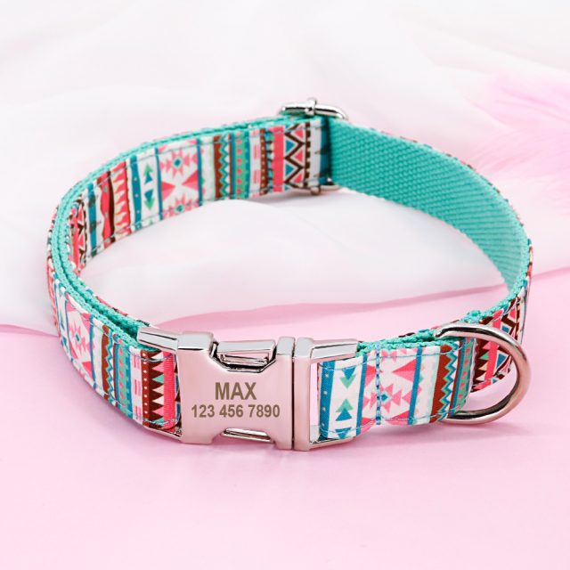 Nylon Pet Collar Personalized Grid Dog Cat Collar Customized Engraved