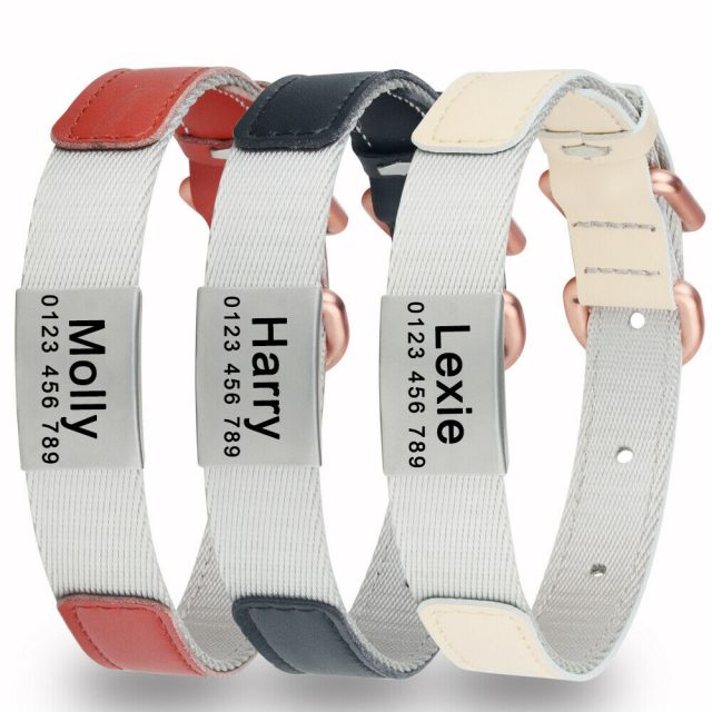 Adjustable Nylon Personalised Dog Collar Engraved Name with Leather Layer Padded