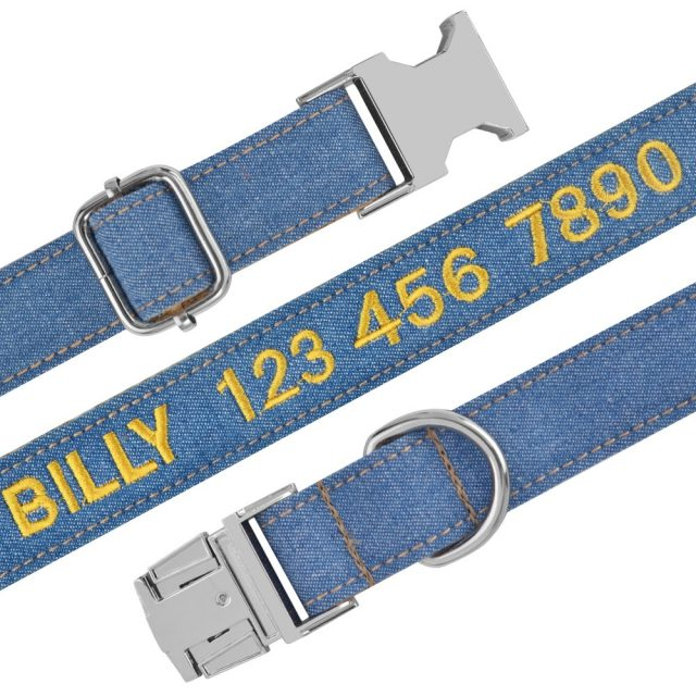 Nylon Jeans Cloth Embroidered Dog Collar Padded Personalized